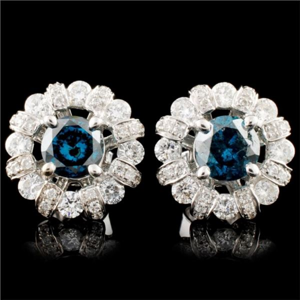 18K Gold 1.73ctw Fancy Color Diamond Earrings