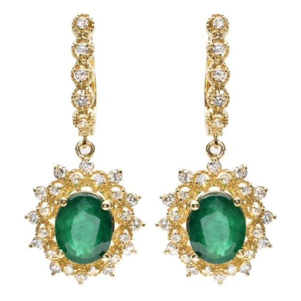 14K Gold 5.00ct Emerald & 1.25ct Diamond Earrings