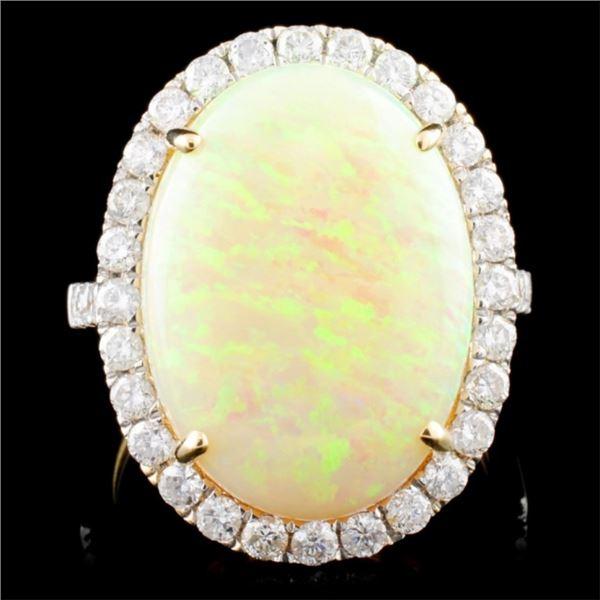 14K Gold 8.01ct Opal & 0.97ct Diamond Ring