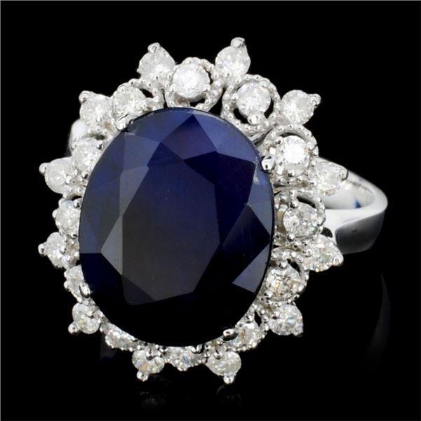 14K Gold 7.00ct Sapphire & 0.75ctw Diamond Ring