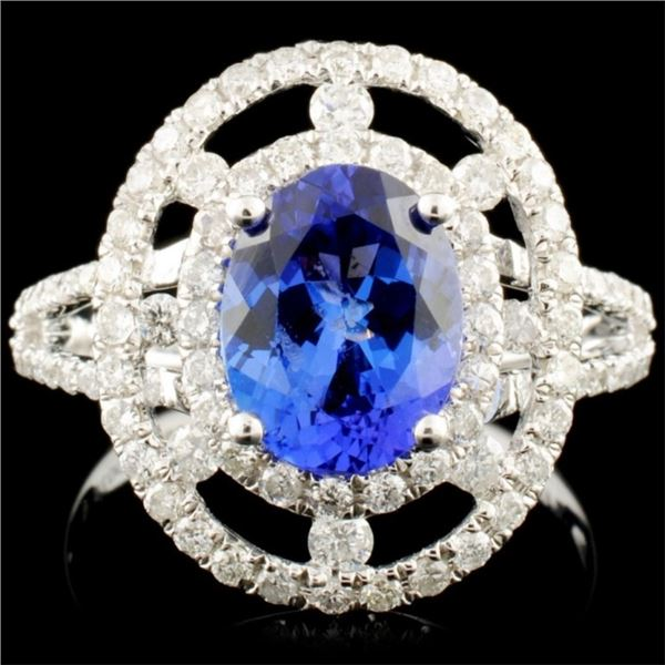 14K Gold 1.76ct Tanzanite & 0.75ctw Diamond Ring