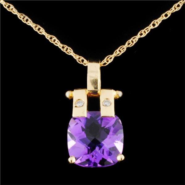 14K Gold 3.50ct Amethyst & 0.03ctw Diamond Pendant