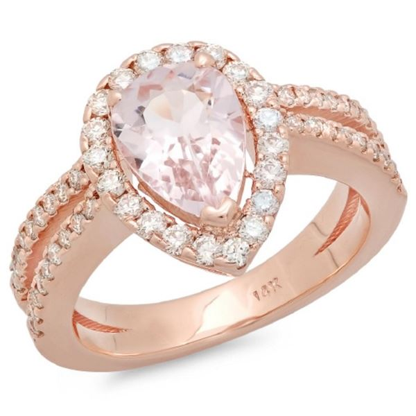 14K Gold 1.50ct Morganite & 0.65ct Diamond Ring