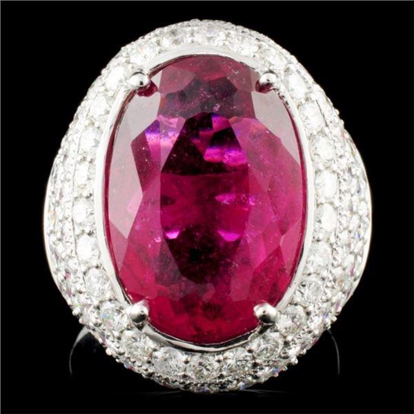 18K Gold 9.33ct Rubellite & 3.11ctw Diamond Ring