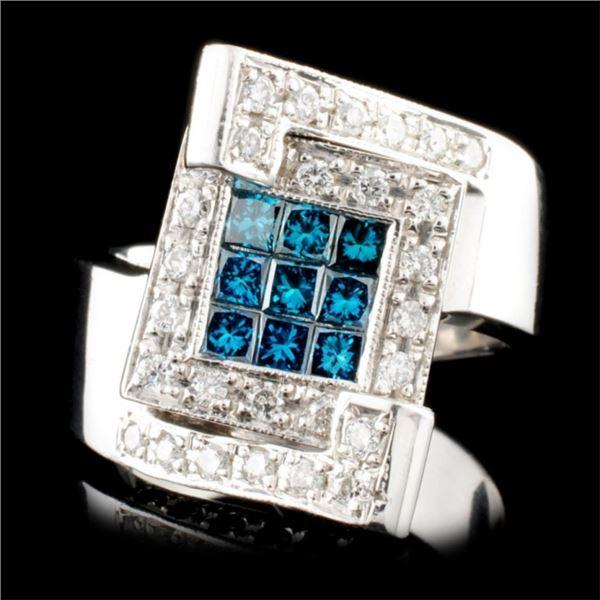 14K Gold 0.95ctw Fancy Color Diamond Ring