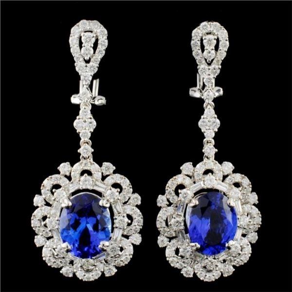 18K Gold 6.66ctw Tanzanite & 3.31ctw Diamond Earri