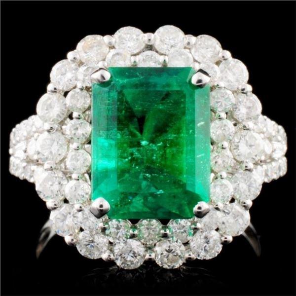 18K W Gold 3.54ct Emerald & 1.77ct Diamond Ring