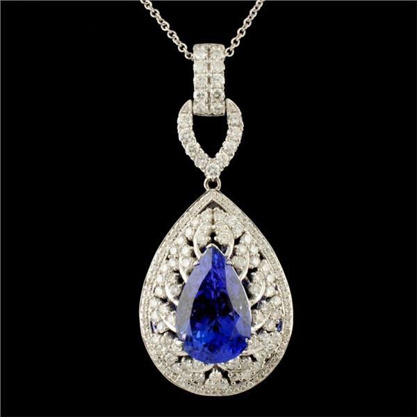 18K Gold 8.03ct Tanzanite & 1.68ctw Diamond Pendan