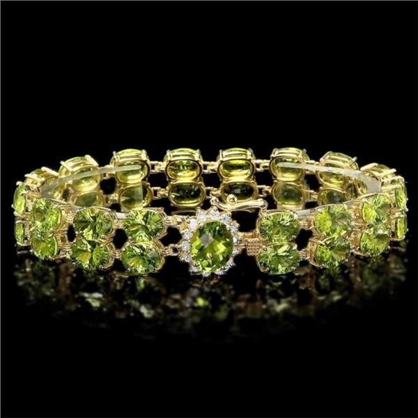 `14k Gold 43.00ct Peridot & 0.60ct Diamond Bracele