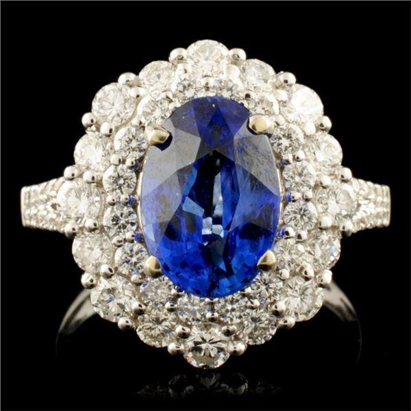 18K Gold 2.96ct Sapphire & 1.51ctw Diamond Ring