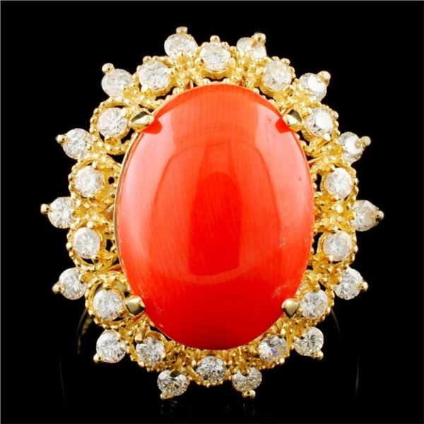 14K Gold 6.00ct Coral & 0.75ctw Diamond Ring