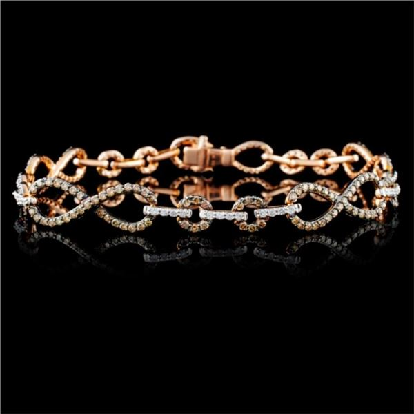 14K Rose Gold 1.69ctw Fancy Color Diamond Bracelet