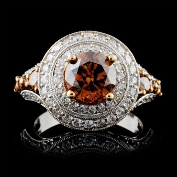 14K White Gold 3.03ctw Fancy Color Diamond Ring