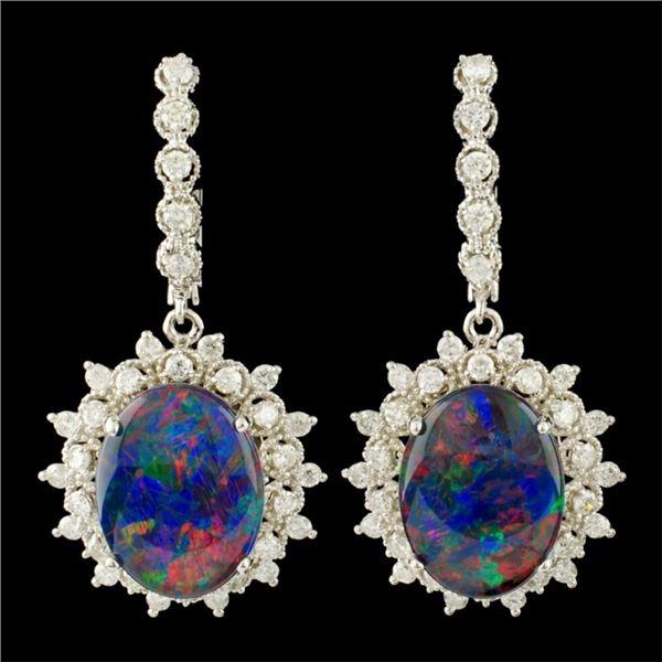 14K Gold 9.27ct Opal & 1.86ctw Diamond Earrings