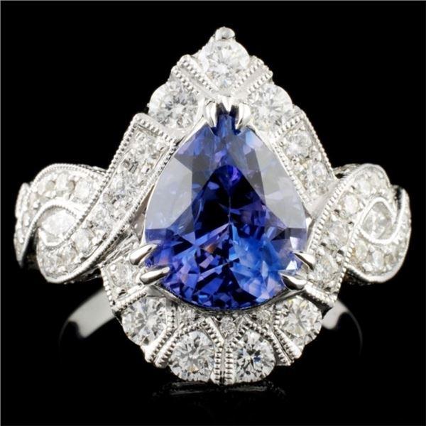 18K Gold 3.56ct Sapphire & 1.38ct Diamond Ring