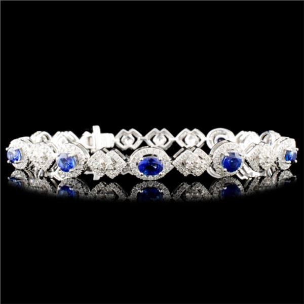 18K Gold 4.02ct Sapphire & 2.02ctw Diamond Bracele