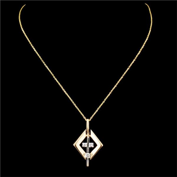 14K Gold 0.09ctw Diamond Pendant
