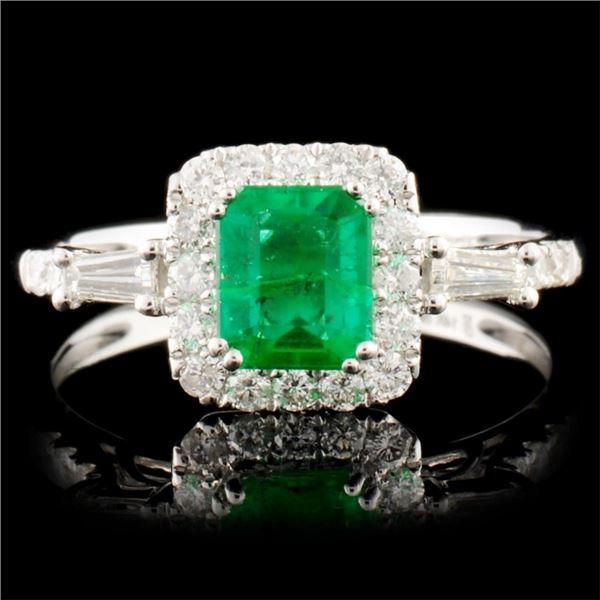 14K Gold 0.68ct Emerald & 0.40ctw Diamond Ring