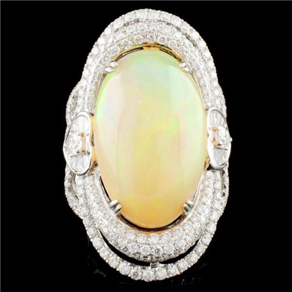 18K Gold 14.30ct Opal & 3.02ctw Diamond Ring