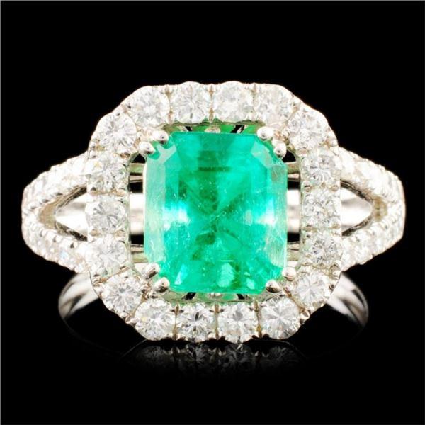 18K Gold 2.14ct Emerald & 1.25ctw Diamond Ring