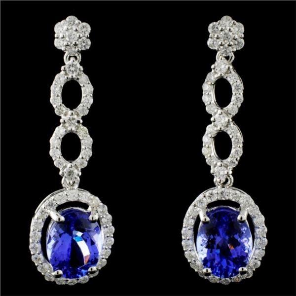 18K Gold 4.35ct Tanzanite & 1.22ctw Diam Earrings
