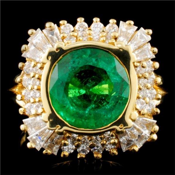 18K Gold 3.17ct Emerald & 1.14ctw Diamond Ring