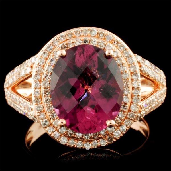 14K Gold 3.61ct Tourmaline & 0.82ctw Diamond Ring
