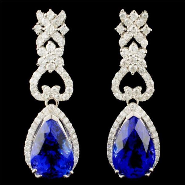 14K Gold 5.23ct Tanzanite & 2.26ctw Diamond Earrin
