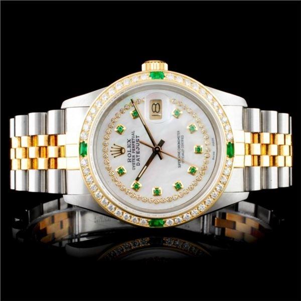 Rolex DateJust 18K/SS Diamond Wristwatch