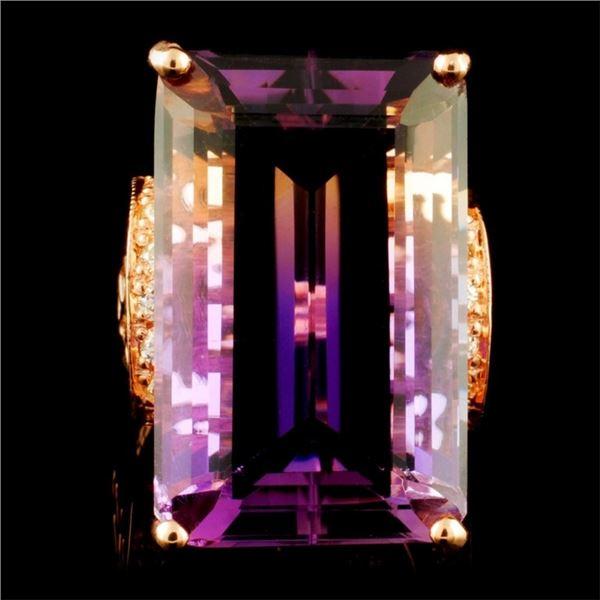 14K Gold 24.18ct Amethyst & 0.52ctw Diamond Ring