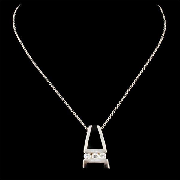 14K Gold Onyx & 0.36ctw Diamond Pendant