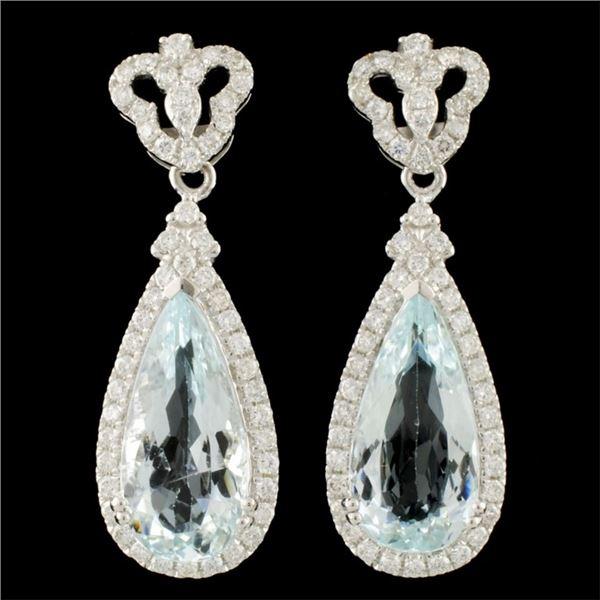 14K Gold 7.22ct Aquamarine & 1.05ctw Diamond Earri