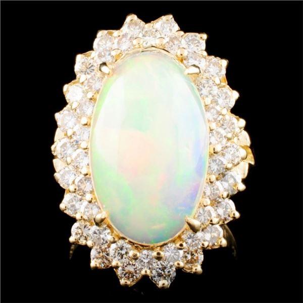 14K Gold 4.53ct Opal & 1.65ctw Diamond Ring