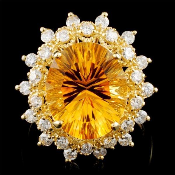 14K Gold 5.00ct Citrine & 0.75ctw Diamond Ring
