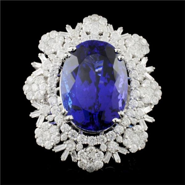 18K Gold 23.15ct Tanzanite & 4.74ctw Diamond Ring