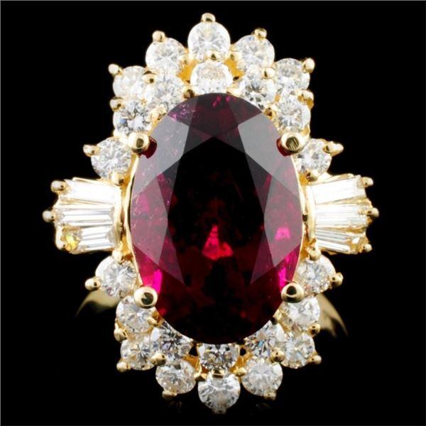 14K Gold 5.76ct Tourmaline & 1.31ctw Diamond Ring