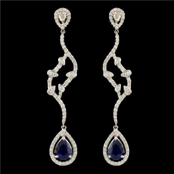 14K Gold 2.52ct Sapphire & 1.10ctw Diamond Earring