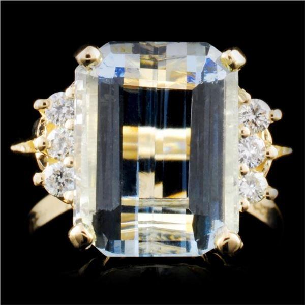 14K Gold 6.04ct Aquamarine & 0.17ct Diamond Ring