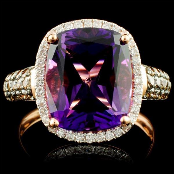 14K Gold 5.03ct Amethyst & 0.57ctw Diamond Ring
