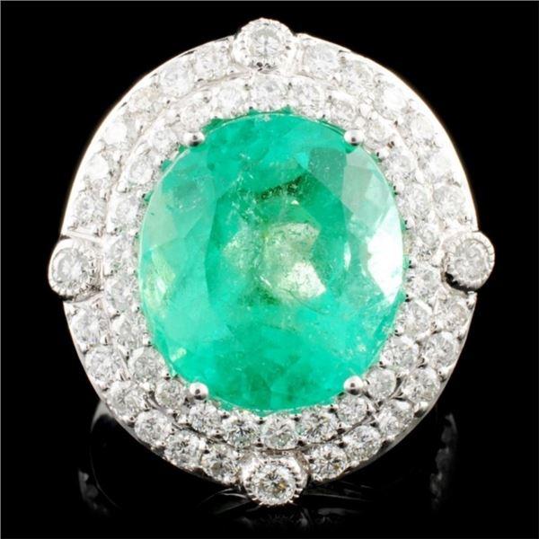 18K Gold 8.12ct Emerald & 1.55ctw Diamond Ring
