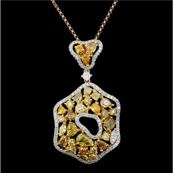 18K Gold 3.42ctw Fancy Color Diamond Pendant