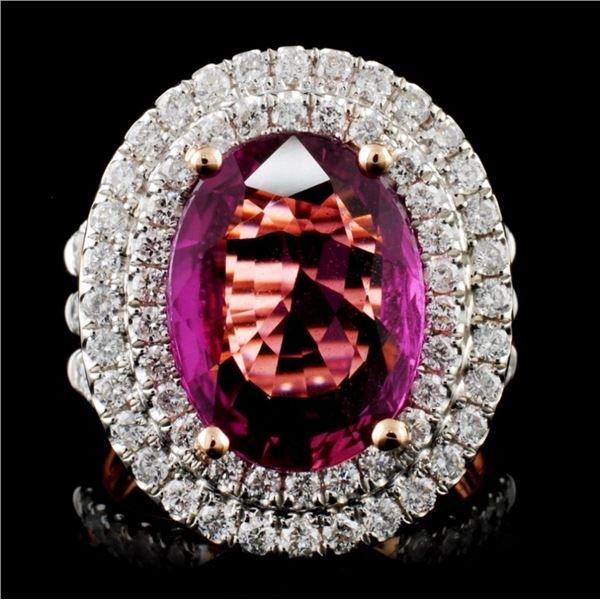 18K Gold 5.83ct  Sapphire & 1.43ct Diamond Ring