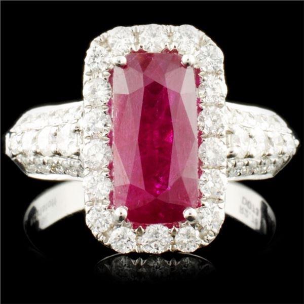18K Gold 2.78ct Ruby & 0.73ctw Diamond Ring
