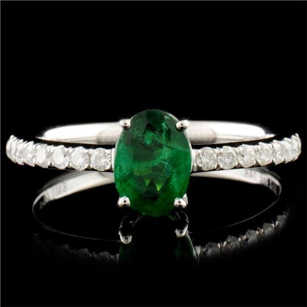 14K Gold 0.64ct Emerald & 0.21ctw Diamond Ring