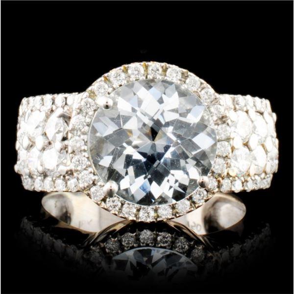18K Gold 2.94ctw Aquamarine & 1.17ctw Diamond Ring
