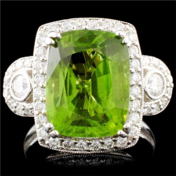 14K Gold 5.74ct Peridot & 0.74ctw Diamond Ring