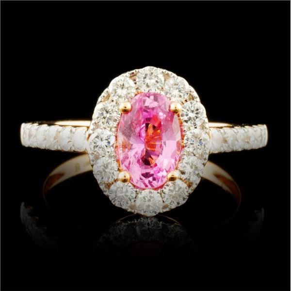 18K Gold 1.18ct Sapphire & 0.76ctw Diamond Ring