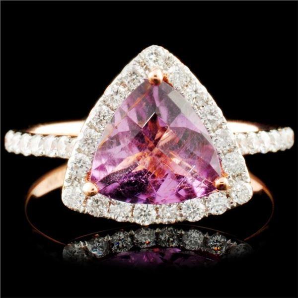 14K Gold 1.80ct Tourmaline & 0.41ctw Diamond Ring