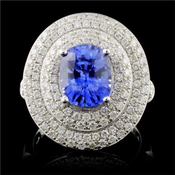 18K White Gold 2.51ct Sapphire & 1.30ct Diamond Ri