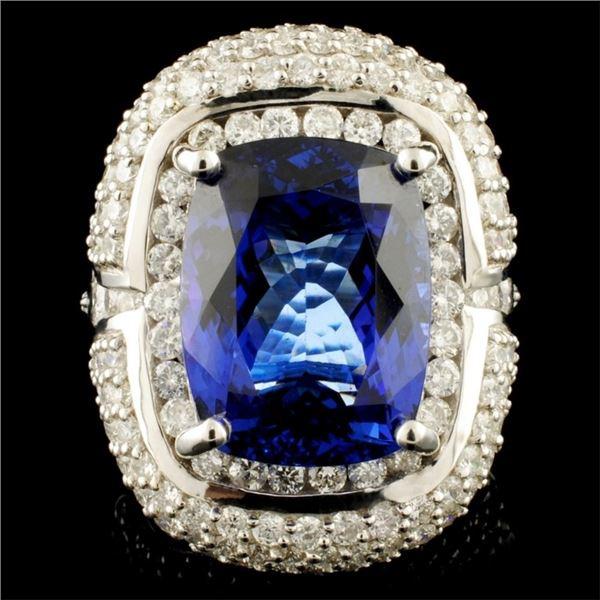 18K Gold 10.92ct Tanzanite & 3.76ctw Diamond Ring